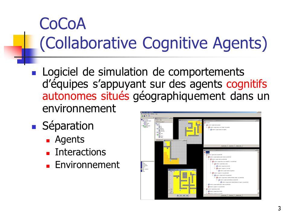 3 CoCoA (Collaborative Cognitive Agents) Logiciel de simulation de comportements déquipes sappuyant sur des agents cognitifs autonomes situés géograph