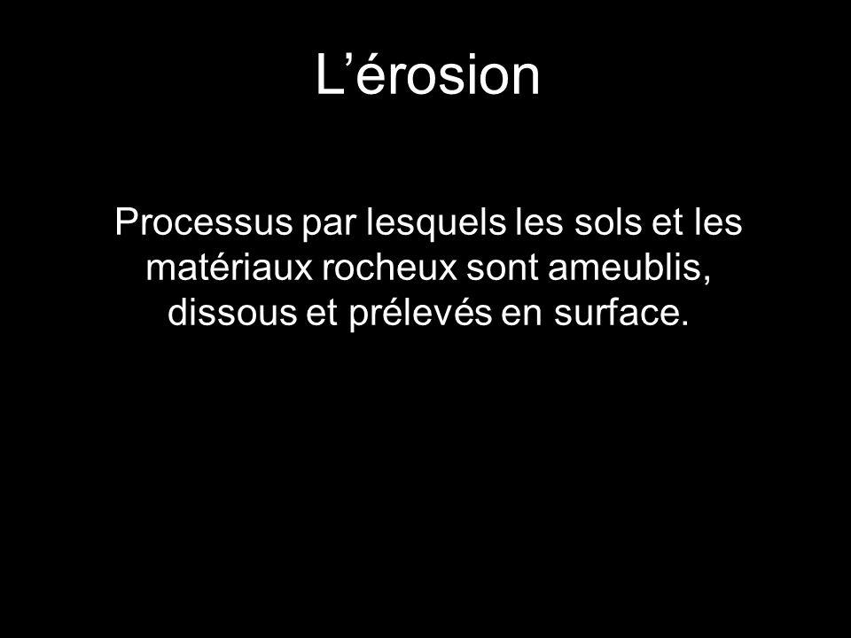 Lérosion Processus par lesquels les sols et les matériaux rocheux sont ameublis, dissous et prélevés en surface.