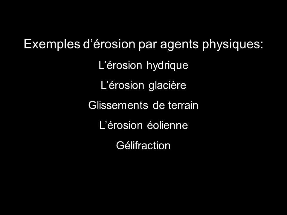 Exemples dérosion par agents physiques: Lérosion hydrique Lérosion glacière Glissements de terrain Lérosion éolienne Gélifraction