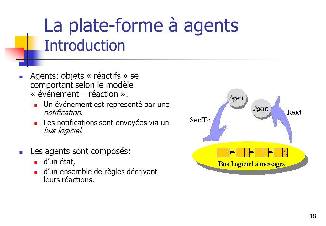 18 Agents: objets « réactifs » se comportant selon le modèle « événement – réaction ». Un événement est representé par une notification. Les notificat