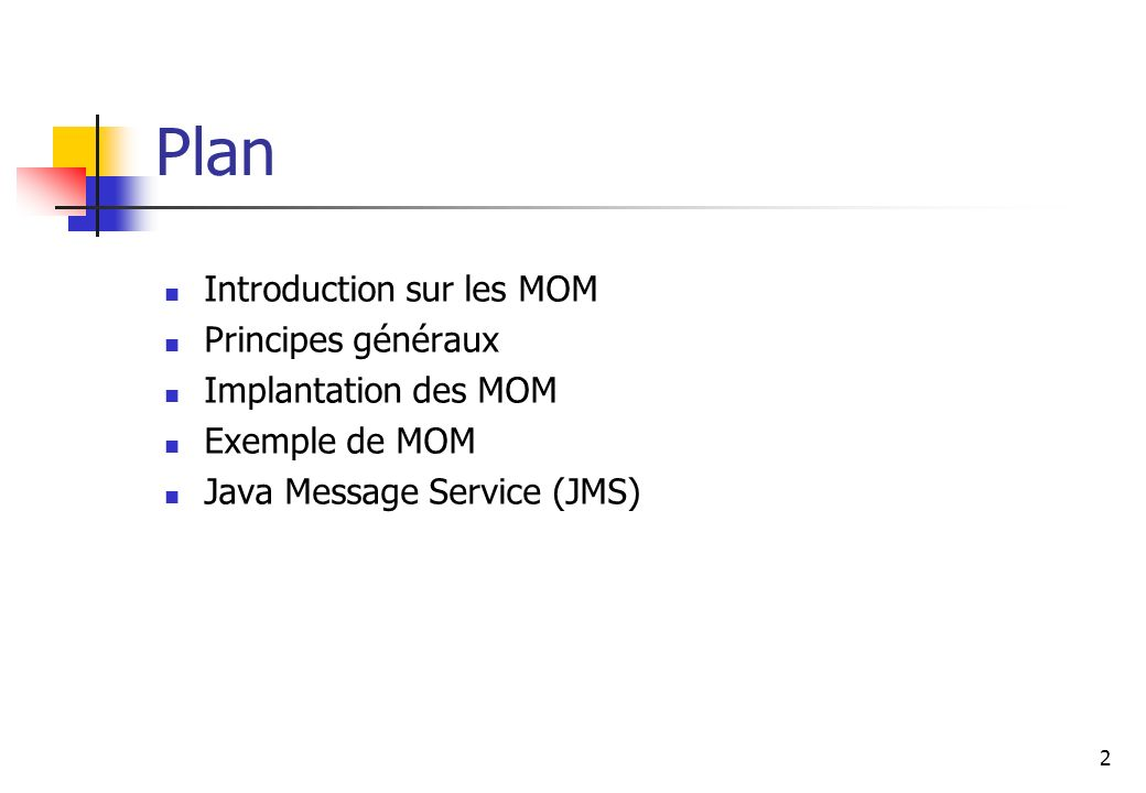 2 Plan Introduction sur les MOM Principes généraux Implantation des MOM Exemple de MOM Java Message Service (JMS)