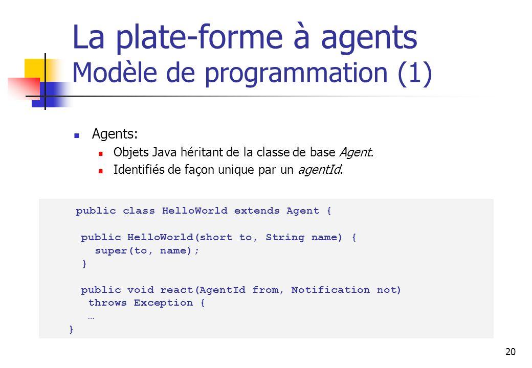 20 La plate-forme à agents Modèle de programmation (1) Agents: Objets Java héritant de la classe de base Agent. Identifiés de façon unique par un agen