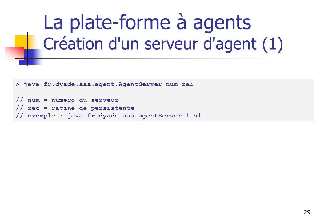 29 La plate-forme à agents Création d un serveur d agent (1) > java fr.dyade.aaa.agent.AgentServer num rac // num = numéro du serveur // rac = racine de persistence // exemple : java fr.dyade.aaa.agentServer 1 s1