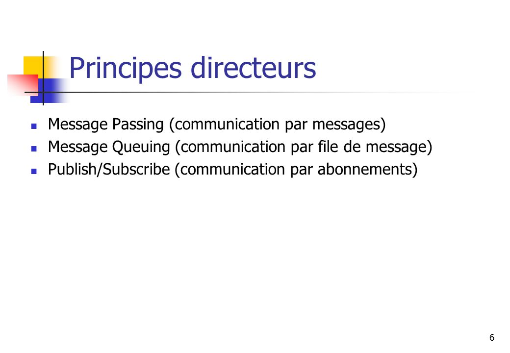 6 Principes directeurs Message Passing (communication par messages) Message Queuing (communication par file de message) Publish/Subscribe (communication par abonnements)