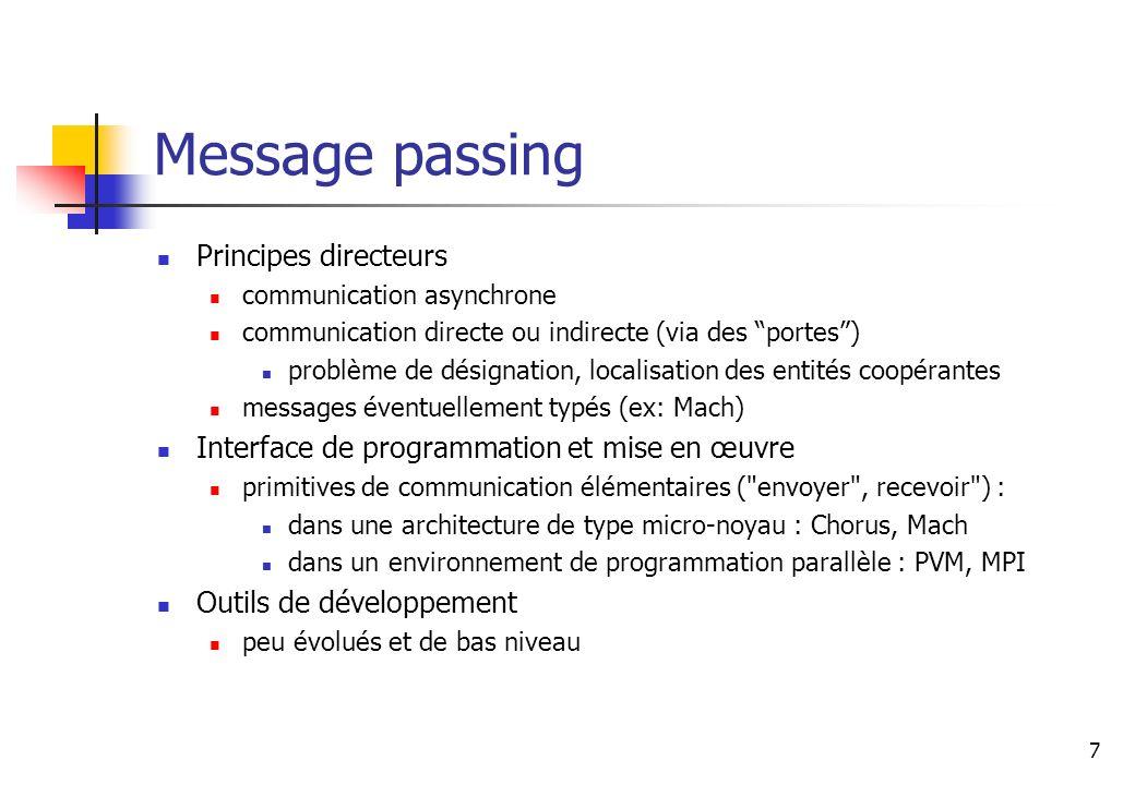 7 Message passing Principes directeurs communication asynchrone communication directe ou indirecte (via des portes) problème de désignation, localisat