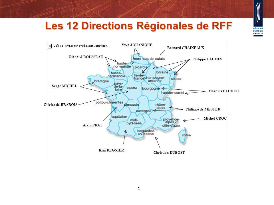 Les 12 Directions Régionales de RFF Richard ROUSSEAU Serge MICHEL Philippe LAUMIN Yves JOUANIQUE Kim REGNIER Alain PRAT Olivier de BRABOIS Christian D