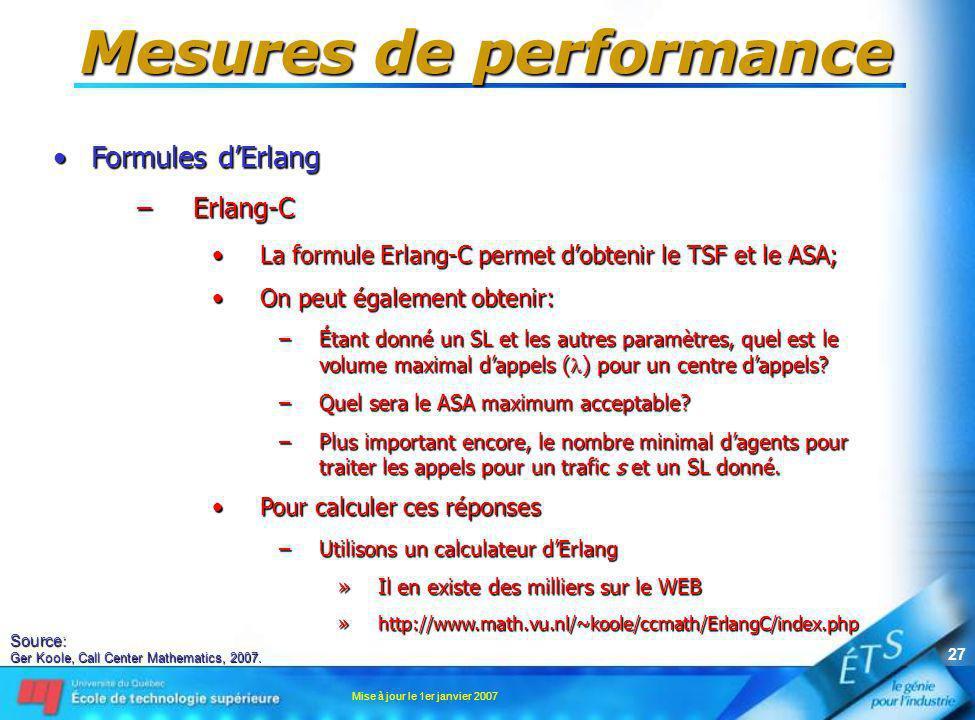 Mise à jour le 1er janvier 2007 27 Mesures de performance Formules dErlangFormules dErlang –Erlang-C La formule Erlang-C permet dobtenir le TSF et le