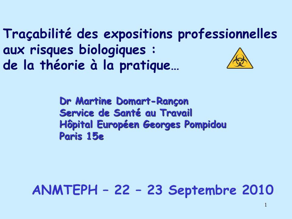 1 Traçabilité des expositions professionnelles aux risques biologiques : de la théorie à la pratique… Dr Martine Domart-Rançon Service de Santé au Travail Hôpital Européen Georges Pompidou Paris 15e ANMTEPH – 22 – 23 Septembre 2010