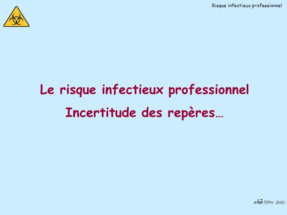 17 Le risque infectieux professionnel Incertitude des repères… ANMTEPH 2010 Risque infectieux professionnel