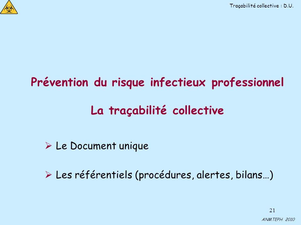 21 Prévention du risque infectieux professionnel La traçabilité collective Le Document unique Les référentiels (procédures, alertes, bilans…) Traçabilité collective : D.U.