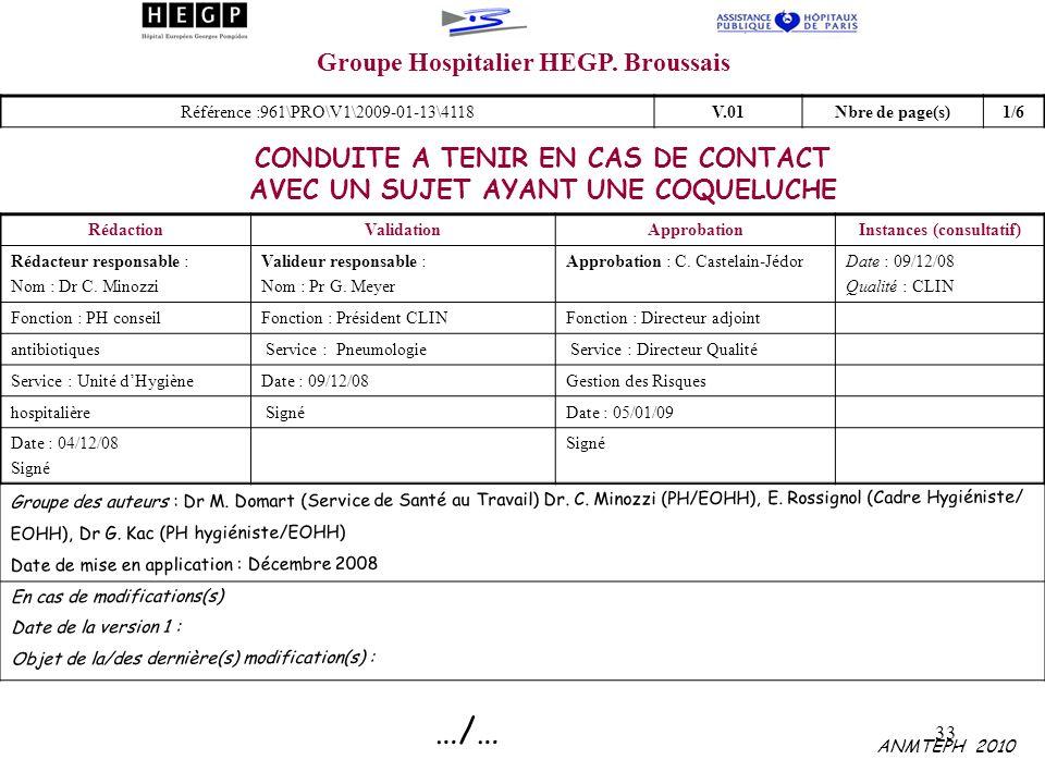 33 Groupe Hospitalier HEGP. Broussais CONDUITE A TENIR EN CAS DE CONTACT AVEC UN SUJET AYANT UNE COQUELUCHE RédactionValidationApprobationInstances (c