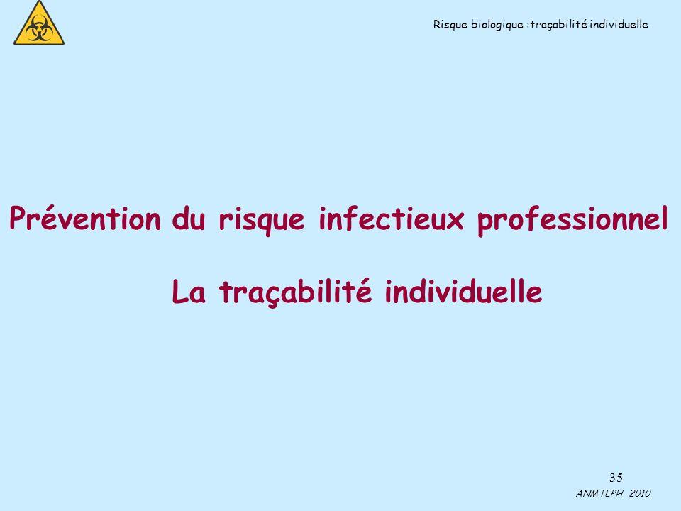 35 Prévention du risque infectieux professionnel La traçabilité individuelle ANMTEPH 2010 Risque biologique :traçabilité individuelle
