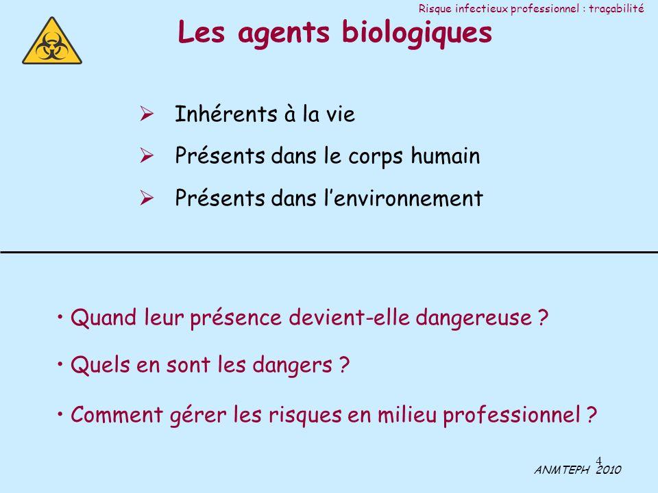 4 Inhérents à la vie Présents dans le corps humain Présents dans lenvironnement Quand leur présence devient-elle dangereuse ? Quels en sont les danger