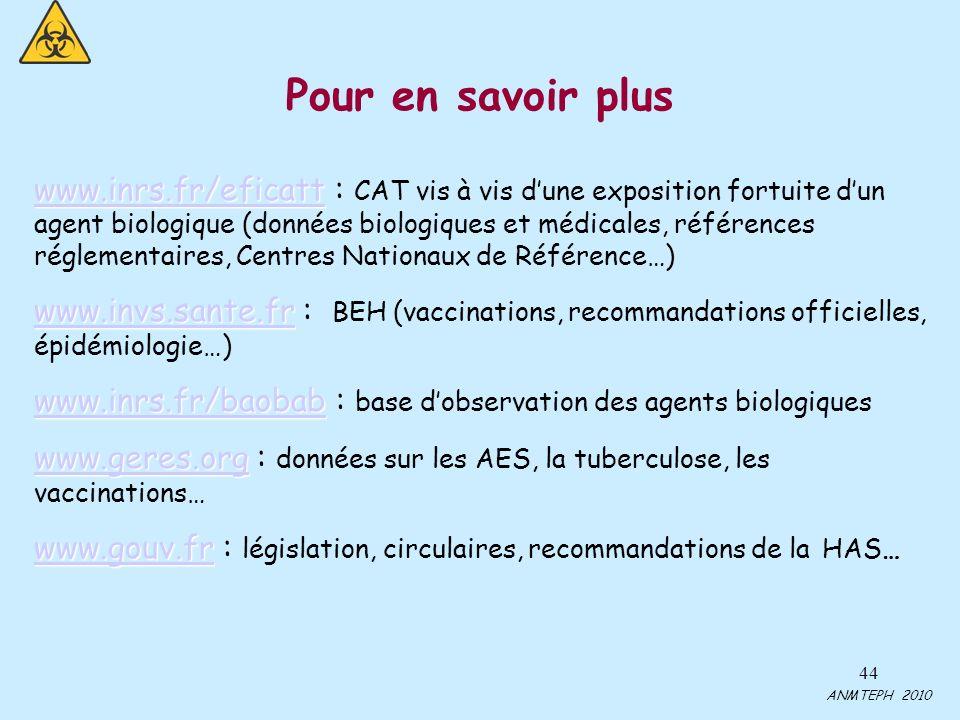44 Pour en savoir plus www.inrs.fr/eficatt www.inrs.fr/eficatt www.inrs.fr/eficatt : CAT vis à vis dune exposition fortuite dun agent biologique (données biologiques et médicales, références réglementaires, Centres Nationaux de Référence…) www.invs.sante.fr www.invs.sante.fr www.invs.sante.fr : BEH (vaccinations, recommandations officielles, épidémiologie…) www.inrs.fr/baobab www.inrs.fr/baobab www.inrs.fr/baobab : base dobservation des agents biologiques www.geres.org www.geres.org www.geres.org : données sur les AES, la tuberculose, les vaccinations… www.gouv.fr www.gouv.fr www.gouv.fr : législation, circulaires, recommandations de la HAS… ANMTEPH 2010