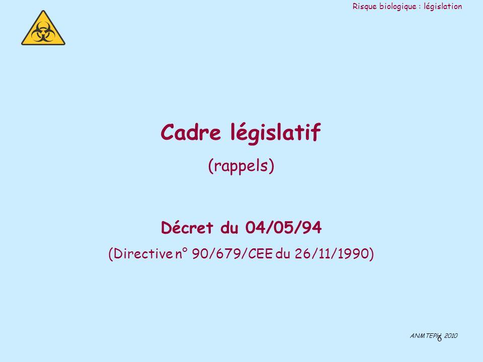 6 Cadre législatif (rappels) Décret du 04/05/94 (Directive n° 90/679/CEE du 26/11/1990) ANMTEPH 2010 Risque biologique : législation
