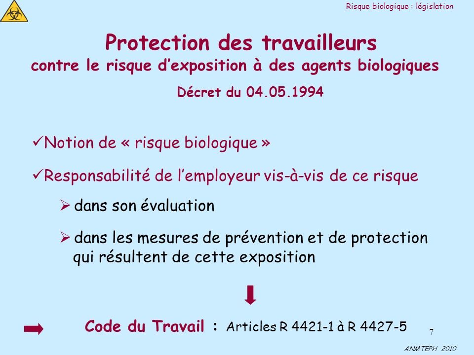 7 Protection des travailleurs contre le risque dexposition à des agents biologiques Décret du 04.05.1994 Notion de « risque biologique » Responsabilité de lemployeur vis-à-vis de ce risque dans son évaluation dans les mesures de prévention et de protection qui résultent de cette exposition Code du Travail : Articles R 4421-1 à R 4427-5 Risque biologique : législation ANMTEPH 2010