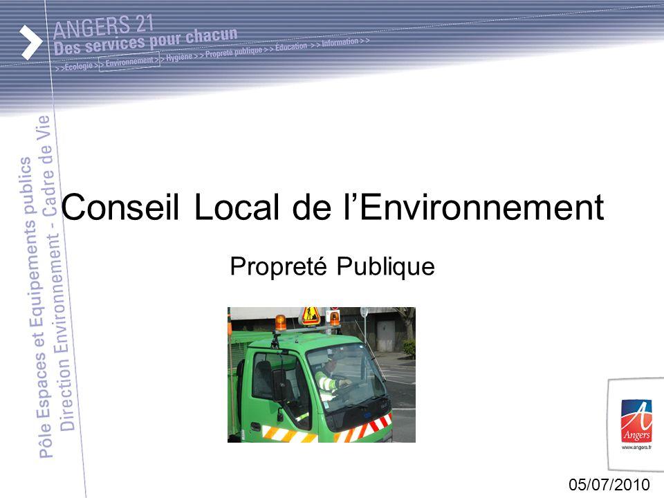 05/07/2010 Conseil Local de lEnvironnement Propreté Publique