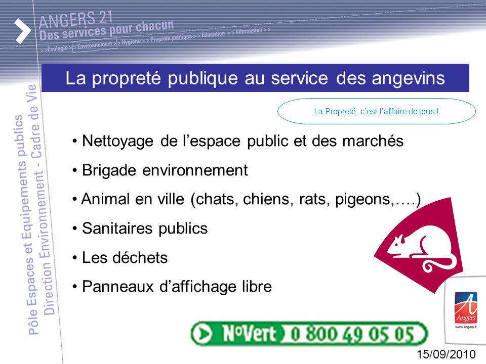 15/09/2010 La propreté publique au service des angevins La Propreté, cest laffaire de tous .