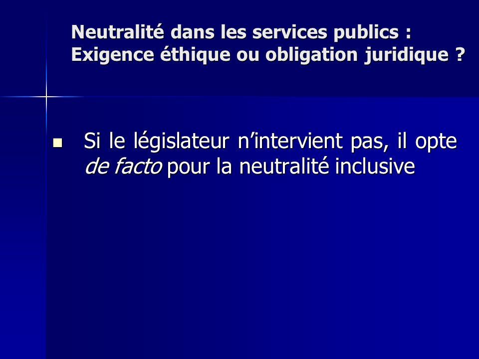 Si le législateur nintervient pas, il opte de facto pour la neutralité inclusive Si le législateur nintervient pas, il opte de facto pour la neutralit