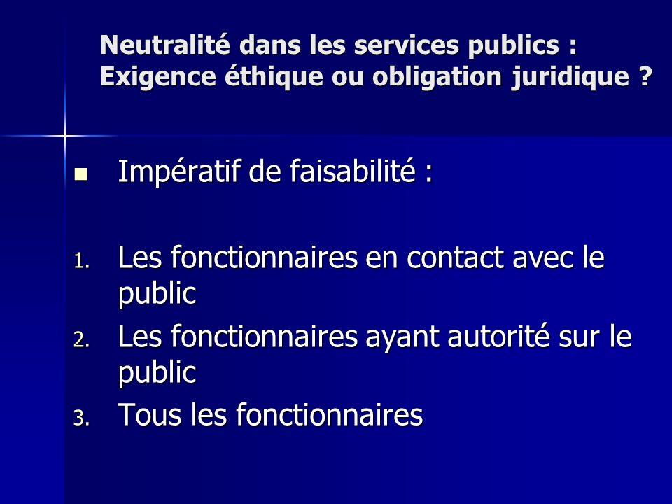 Impératif de faisabilité : Impératif de faisabilité : 1. Les fonctionnaires en contact avec le public 2. Les fonctionnaires ayant autorité sur le publ