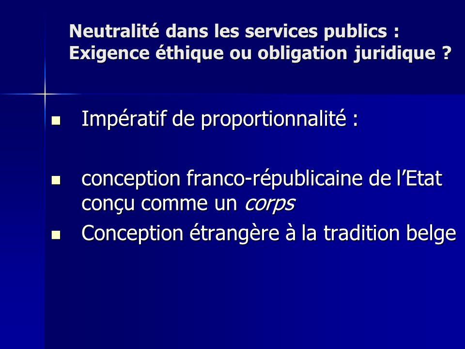 Impératif de proportionnalité : Impératif de proportionnalité : conception franco-républicaine de lEtat conçu comme un corps conception franco-républi