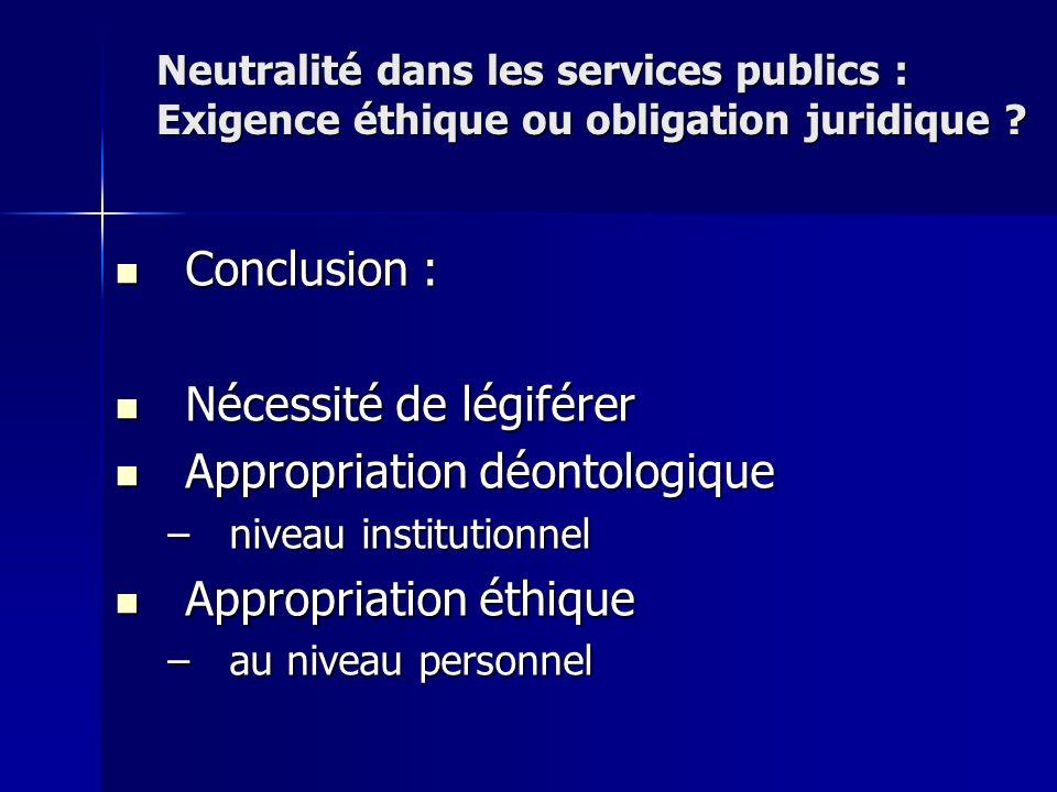 Conclusion : Conclusion : Nécessité de légiférer Nécessité de légiférer Appropriation déontologique Appropriation déontologique –niveau institutionnel