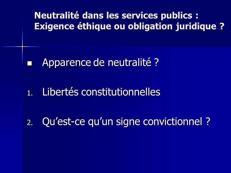 Apparence de neutralité ? Apparence de neutralité ? 1. Libertés constitutionnelles 2. Quest-ce quun signe convictionnel ? Neutralité dans les services
