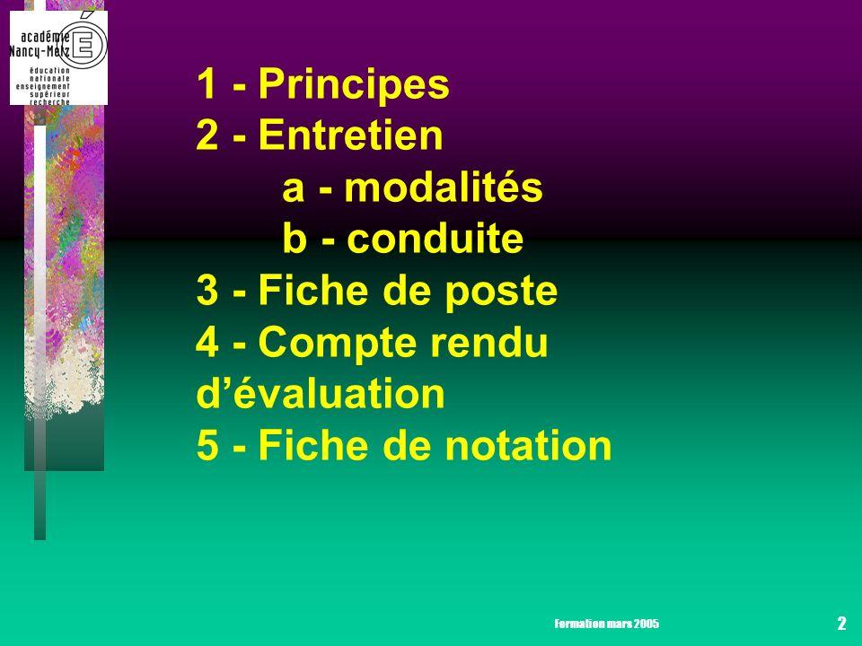 Formation mars 2005 2 1 - Principes 2 - Entretien a - modalités b - conduite 3 - Fiche de poste 4 - Compte rendu dévaluation 5 - Fiche de notation