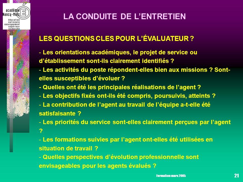 Formation mars 2005 21 LA CONDUITE DE LENTRETIEN LES QUESTIONS CLES POUR LÉVALUATEUR .