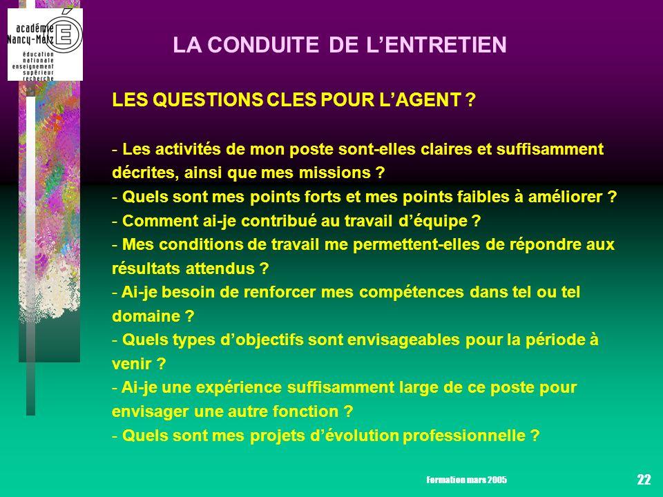 Formation mars 2005 22 LA CONDUITE DE LENTRETIEN LES QUESTIONS CLES POUR LAGENT .