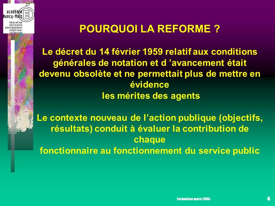 Formation mars 2005 4 POURQUOI LA REFORME .