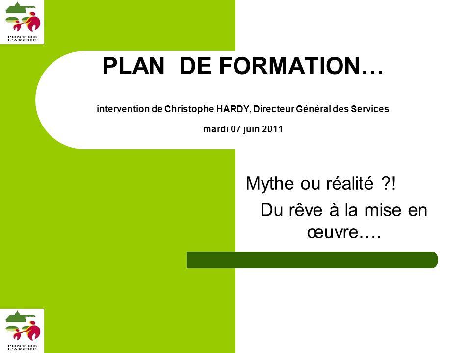 PLAN DE FORMATION… intervention de Christophe HARDY, Directeur Général des Services mardi 07 juin 2011 Mythe ou réalité ?.