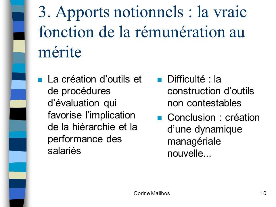 Corine Mailhos9 3. Apports notionnels : Pourquoi rémunérer au mérite .