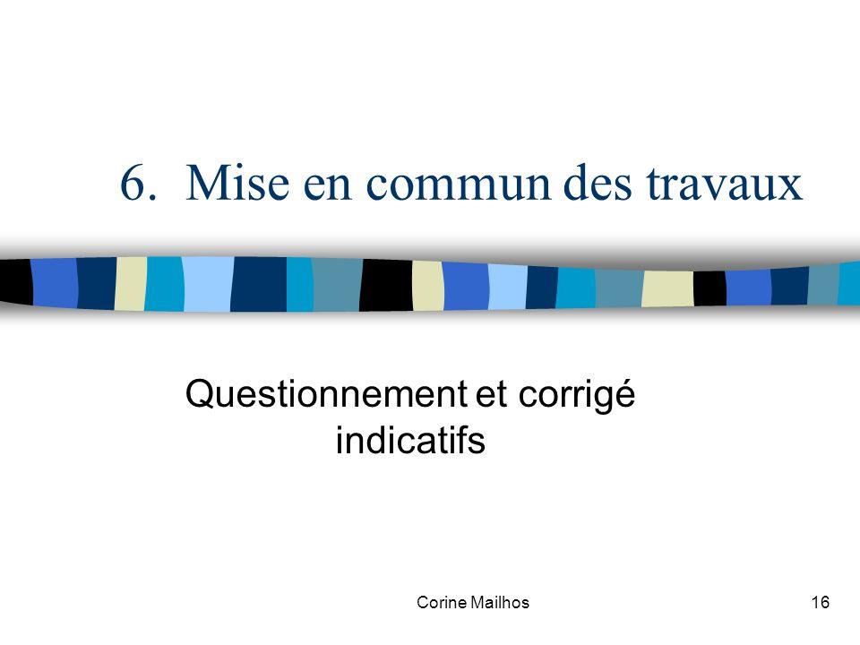 Corine Mailhos15 5. Travaux en groupe Réflexion sur un questionnement