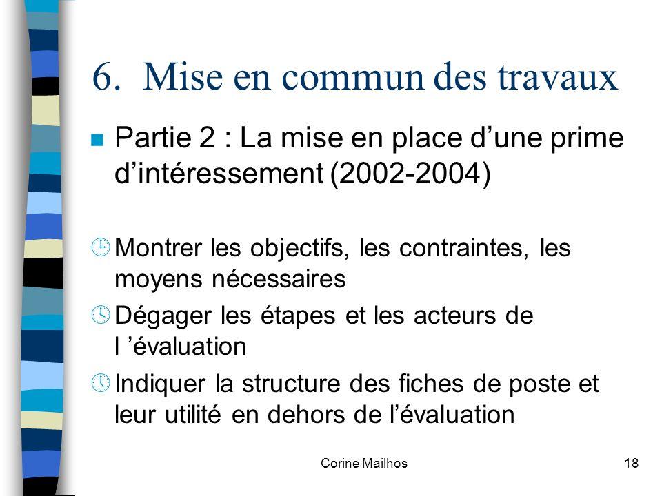 Corine Mailhos17 6. Mise en commun des travaux n Partie 1 : Le diagnostic, la ville de Troyes en 2002 ¶Caractériser lorganisation ·Identifier le probl