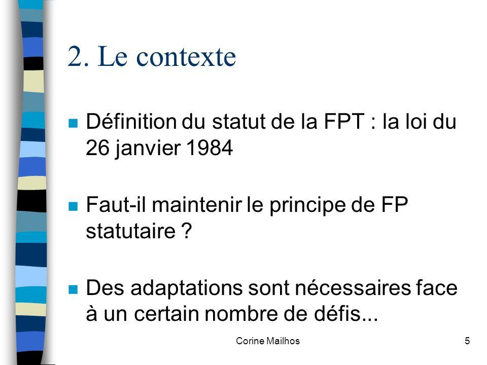 Corine Mailhos4 2. Le contexte Lévolution du contexte dans lequel évolue la Fonction Publique Territoriale