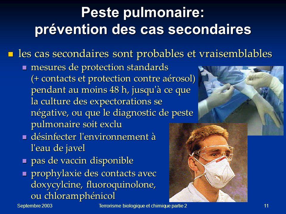 Septembre 2003 Terrorisme biologique et chimique partie 211 Peste pulmonaire: prévention des cas secondaires les cas secondaires sont probables et vra