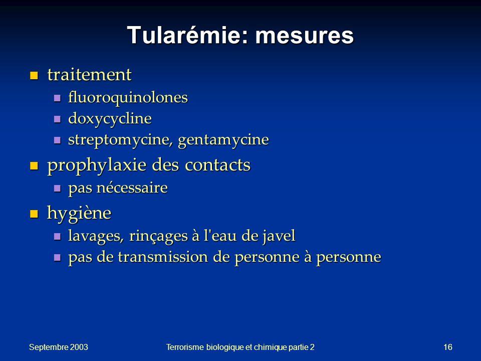 Septembre 2003 Terrorisme biologique et chimique partie 216 Tularémie: mesures traitement traitement fluoroquinolones fluoroquinolones doxycycline dox