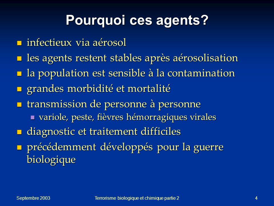 Septembre 2003 Terrorisme biologique et chimique partie 24 Pourquoi ces agents? infectieux via aérosol infectieux via aérosol les agents restent stabl