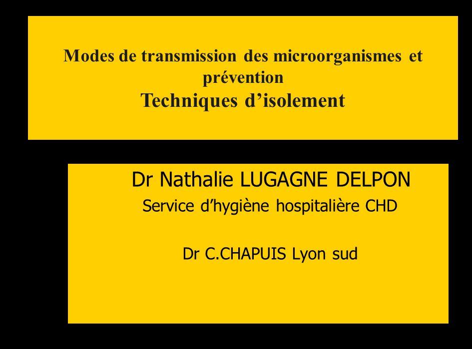 Dr Nathalie LUGAGNE DELPON Service dhygiène hospitalière CHD Dr C.CHAPUIS Lyon sud Modes de transmission des microorganismes et prévention Techniques