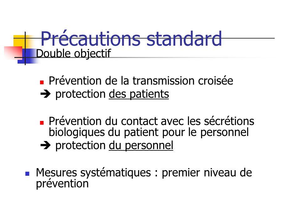Précautions standard Double objectif Prévention de la transmission croisée protection des patients Prévention du contact avec les sécrétions biologiqu