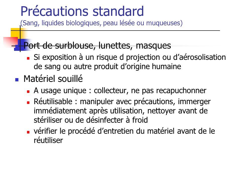 Précautions standard (Sang, liquides biologiques, peau lésée ou muqueuses) Port de surblouse, lunettes, masques Si exposition à un risque d projection