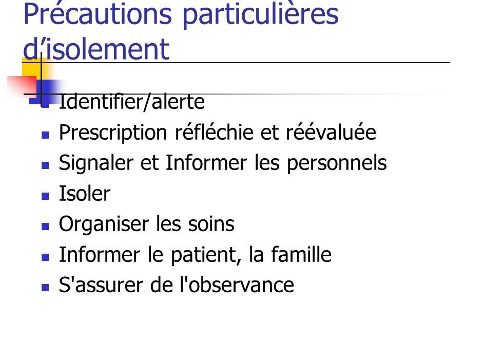 Précautions particulières disolement Identifier/alerte Prescription réfléchie et réévaluée Signaler et Informer les personnels Isoler Organiser les so
