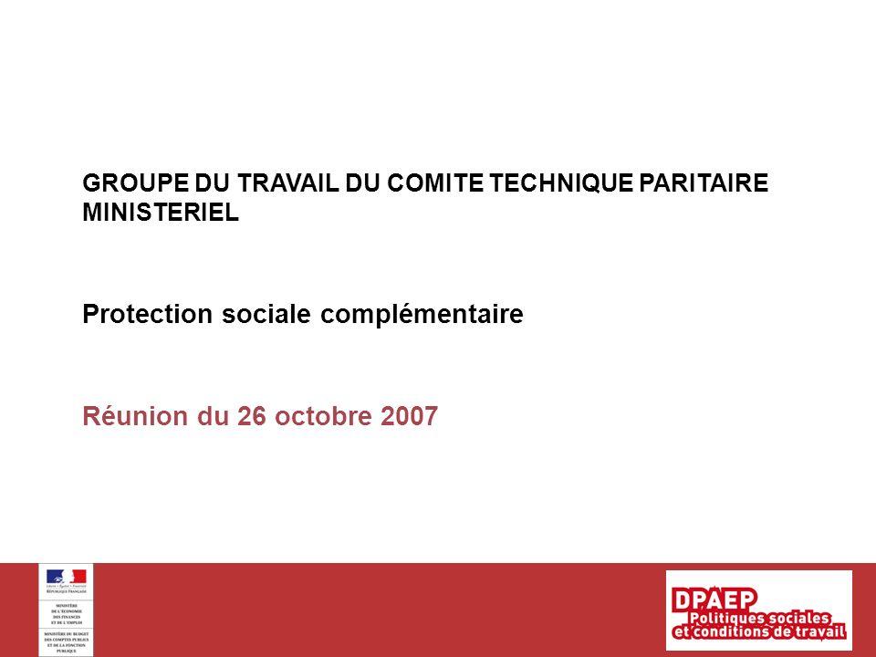 Réunion du 26 octobre 2007 GROUPE DU TRAVAIL DU COMITE TECHNIQUE PARITAIRE MINISTERIEL Protection sociale complémentaire