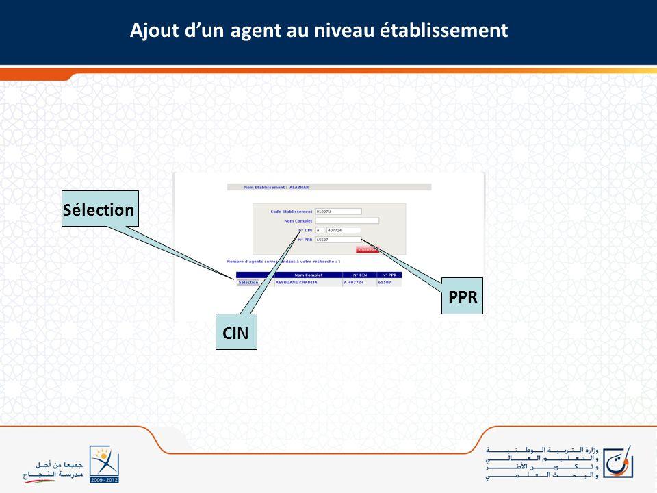 Ajout dun agent au niveau établissement CINPPR Sélection