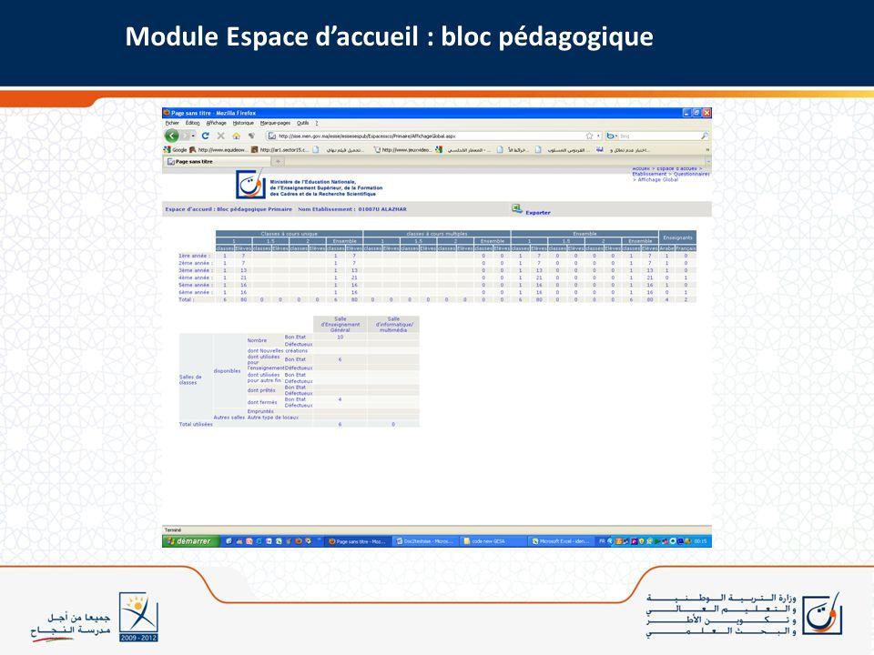Module Espace daccueil : bloc pédagogique