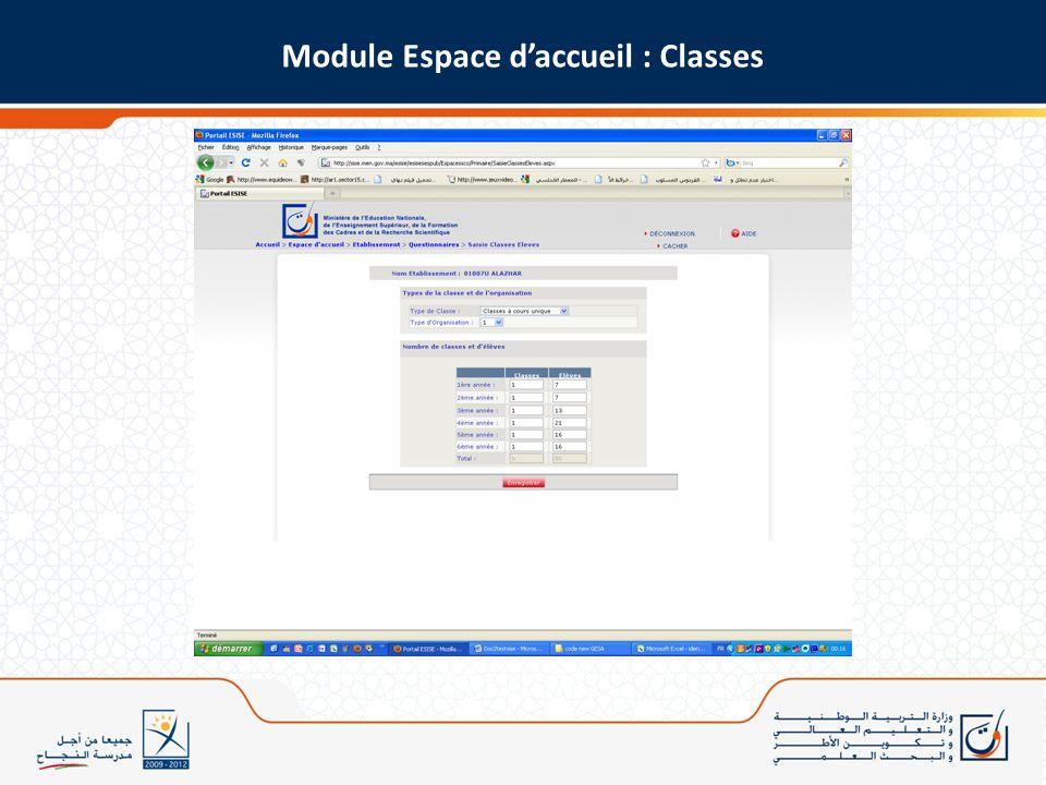 Module Espace daccueil : Classes