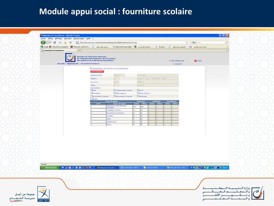 Module appui social : fourniture scolaire