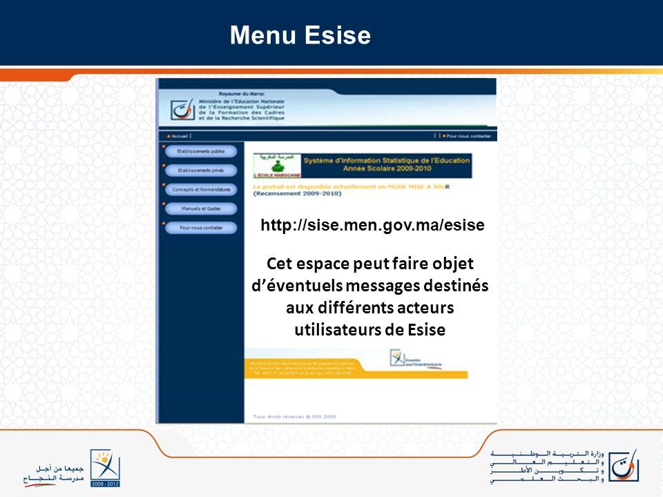 Cet espace peut faire objet déventuels messages destinés aux différents acteurs utilisateurs de Esise Menu Esise http://sise.men.gov.ma/esise