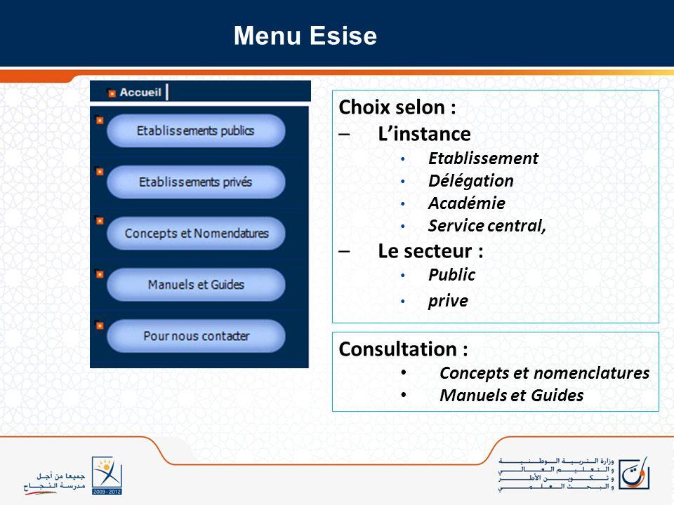 Choix selon : –Linstance Etablissement Délégation Académie Service central, –Le secteur : Public prive Consultation : Concepts et nomenclatures Manuel